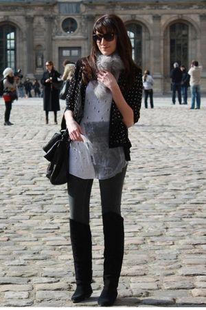 black H&M jacket - silver Zara t-shirt - black vintage boots