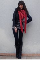 black Zara leggings - black Zara jacket - black Zara t-shirt - red Zara scarf -