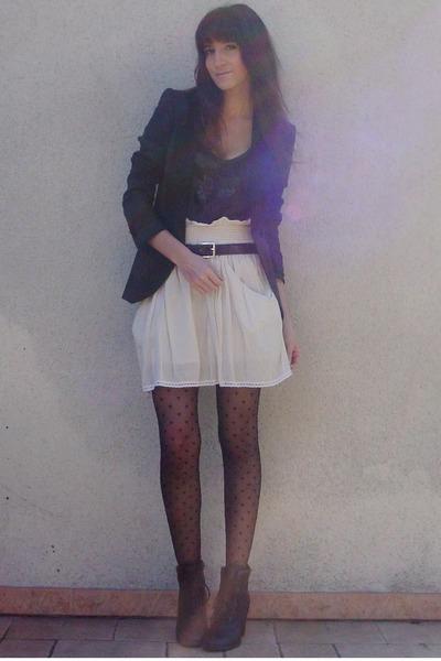beige Zara skirt - gray Zara blazer - gray Maje t-shirt