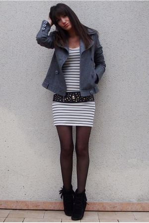 white Zara dress - gray Bershka jacket - black Minnetonka boots