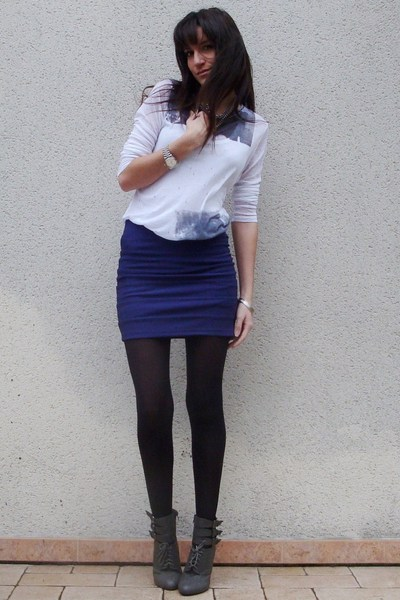 purple H&M skirt - silver Zara t-shirt - gray NYC boots