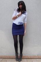 purple H&M skirt - silver Zara t-shirt - gray NYC boots