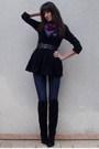 Black-h-m-dress-black-vintage-boots-blue-h-m-jeans-h-m-scarf