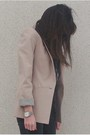 Beige-zara-blazer-gray-zara-leggings-black-junk-food-t-shirt-black-uo-boot