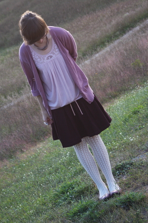 f21 shirt - Charlotte Rouse sweater - ae skirt - Claires tights - UO shoes - Ald