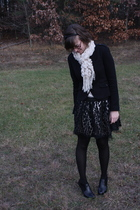 f21 jacket - f21 skirt - Meijer scarf - kohls tights - apt 9 boots - f21 accesso