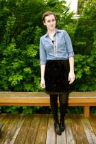 blue Target shirt - black Loft shoes - black Target tights - black f21 skirt
