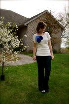 beige DIY blouse - blue Gap pants - blue UO shoes - white Icing accessories