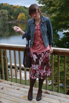 f21 jacket - simply vera wang shirt - kohls skirt - kohls tights - Candies shoes