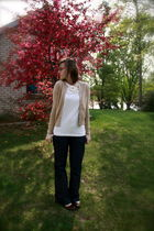 beige old navy very old cardigan - white J Crew shirt - blue Gap pants - white f