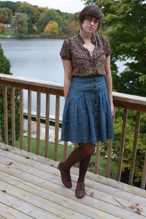 f21 blouse - UO skirt - kohls tights - Aldo shoes - thrifted accessories - Meije