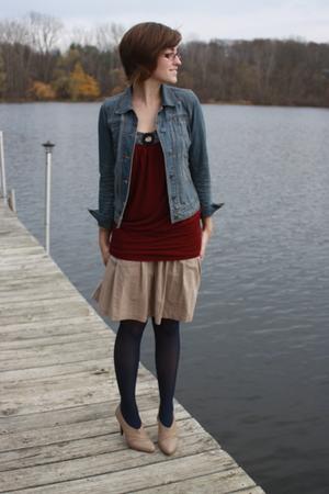f21 jacket - f21 shirt - Gap skirt - kohls tights - Report shoes
