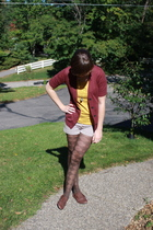 simply vera wang sweater - kohls shirt - Charlotte Rouse shorts - kohls tights -