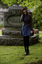 gray  sweater - blue dress - black kohls tights - apt 9 boots