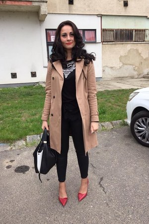 camel Zara coat - black Furla bag - black Zara panties - red Zara heels