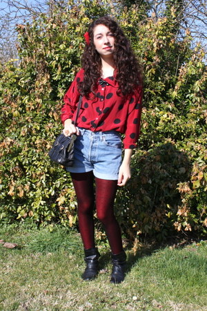vintage shirt - new look tights - Levis shorts