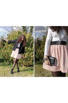 Eram boots - etam jacket - new look tights - H&M belt - homemade skirt