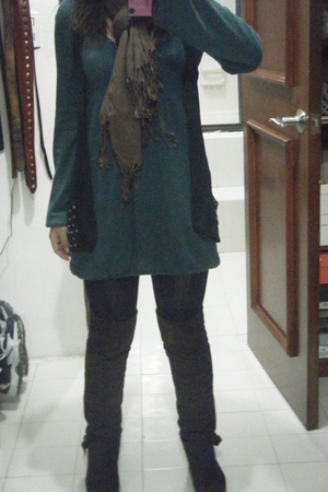 green pull&bear cardigan - black pull&bear boots - brown atikuz tights - black O