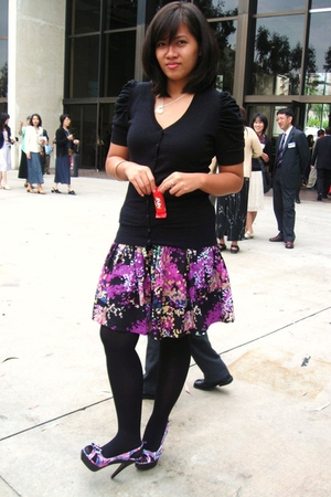 black blouse - purple skirt - gray accessories - brown shoes