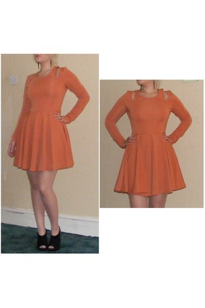 orange skater Eva &amp; Lola dress - black velvet new look heels