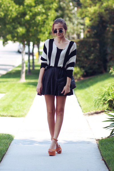black leather skirt - tawny sandals