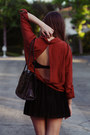Burnt-orange-backless-lf-stores-blouse-black-pleated-topshop-skirt-black-pla