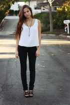 black joes jeans - white t-shirt - black heels