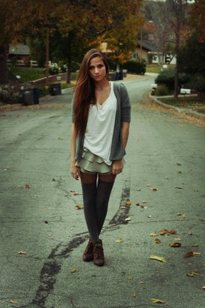 beige shorts - white shirt - heather gray cardigan - dark brown shoes