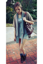 heather gray dress - beige cardigan - dark brown Steve Madden shoes