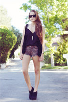 black Forever 21 wedges - brown leopard print Hot Topic shorts