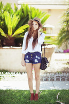 navy shorts - burnt orange H&amp;M boots - tan hat - white blouse