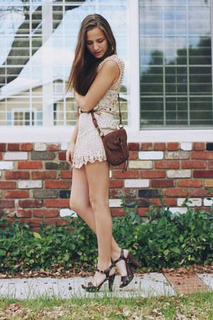 beige crochet romwe dress - brown satchel bag - dark brown sandal Payless clogs