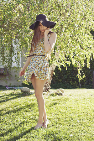 yellow sunflower thrifted dress - brown wool sun hat