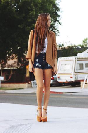 camel Steve Madden heels - navy denim shorts shorts - tan cardigan
