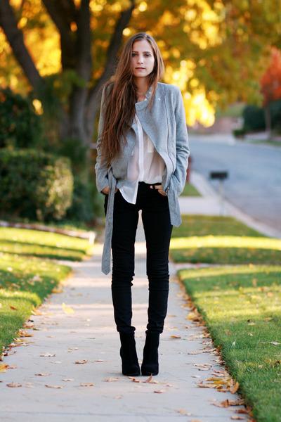 white button up blouse - black platform boots - black coated jeans