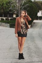 camel thrifted blazer - black Steve Madden heels - black leather H&M skirt - cam