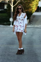 white floral print dress - white socks - white sheer white cardigan - brown lace