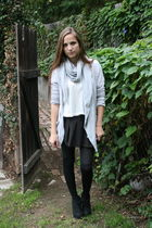 white Roxy shirt - gray Anthropologie cardigan - black thrifted skirt - black Fo