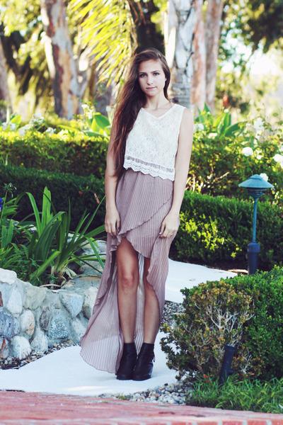 ivory lace crop top top - light pink high low skirt skirt