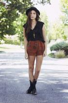 black fringed thrifted boots - black hat - burnt orange diy thrifted shorts