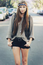 Black-steve-madden-boots-black-cut-off-vintage-shorts-tan-knit-thrifted-jump