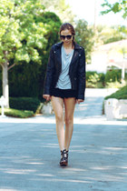 black leather jacket - black lace shorts - black sunglasses