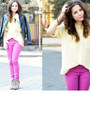 Hot-pink-bershka-pants-light-yellow-secondhand-blouse