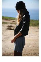 black hat - black jacket - gray dress