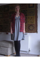 blue Home made dress - ruby red Debenhams shirt - black Primark flats