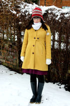 white second hand scarf - yellow Topshop coat - pink Primark skirt - black dunlo