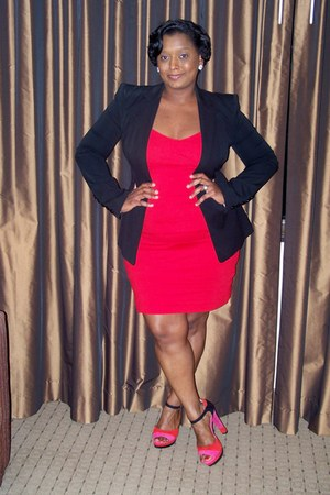 color block Giani Bini heels - Express dress - Express blazer