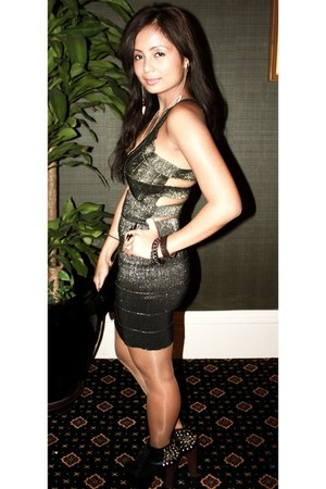 bronze gold cut out nastygal dress - black platform- diy vICTORIA boots
