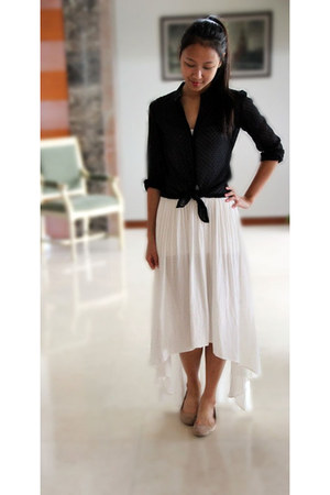 white high-low Zara skirt - white H&M intimate - black polka dot Zara blouse