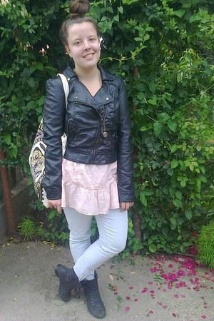 black leather Bershka jacket - puce boots - light blue Vila jeans